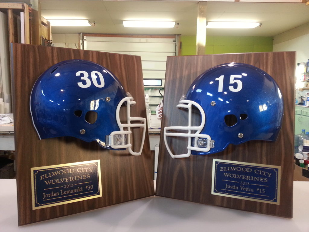 Football Helmet Vinyl Wraps : Custom football plaques ellwood city pa signs