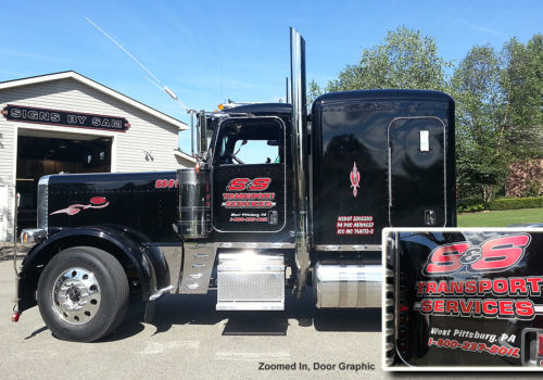 semi truck graphics door lettering
